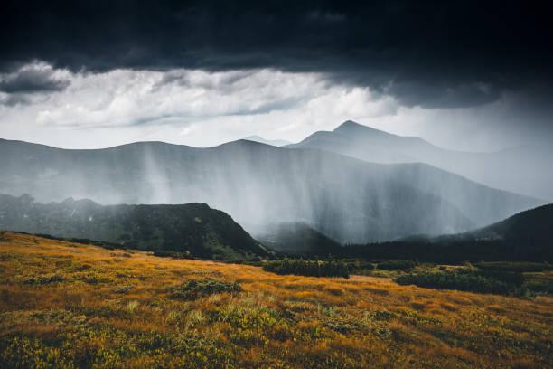 Powerful heavy rainfall. Location Carpathian national park, Ukraine, Europe.