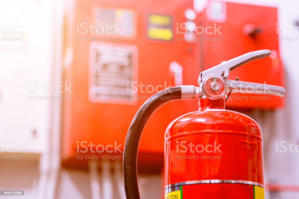 Powerful industrial fire extinguishing system. stock photo