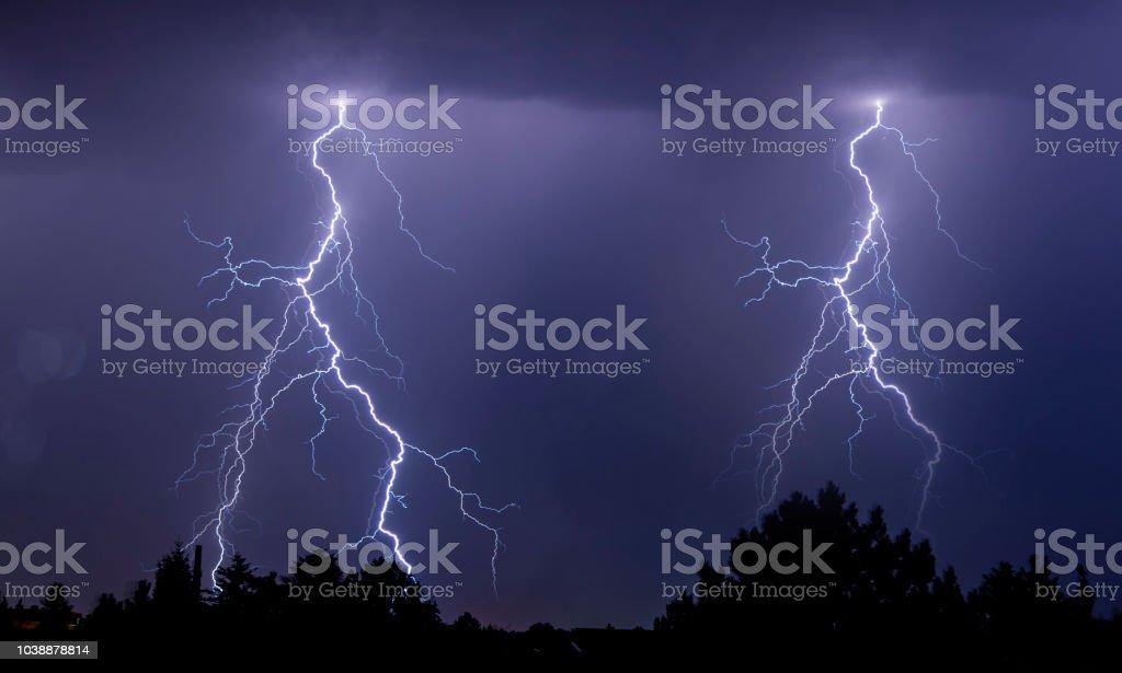 powerful lightning strikes over the night sky