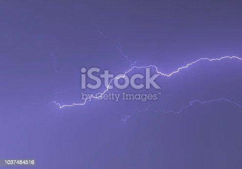 istock powerful lightning strikes 1037484516