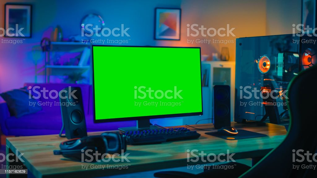 Powerful Personal Computer Gamer Rig with Mock Up Green Screen...