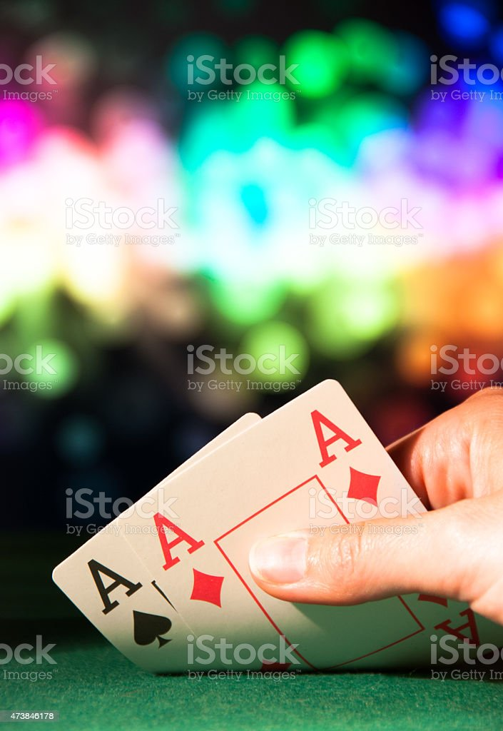 Powerful poker hand with two aces stock photo