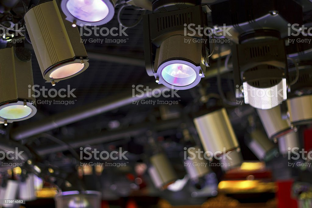 Powerful projectors in modern night club royalty-free stock photo