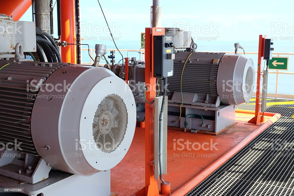 powerful pumps in oil and gas platform. stock photo