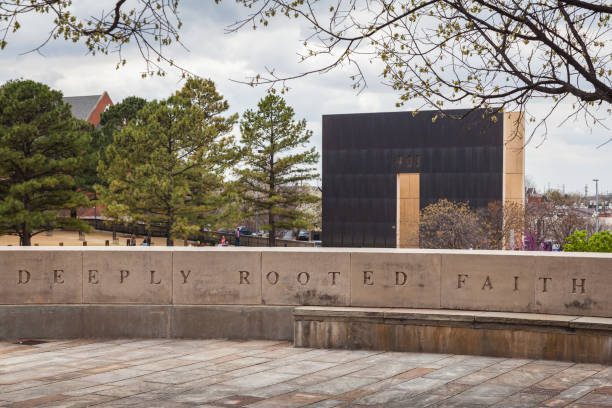 Powerful quotes engraved on sitting wall at Oklahoma City National Memorial stock photo