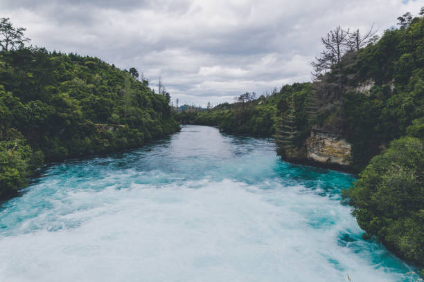 Powerful river flow at Huka falls in Taupo, New Zealand stock photo