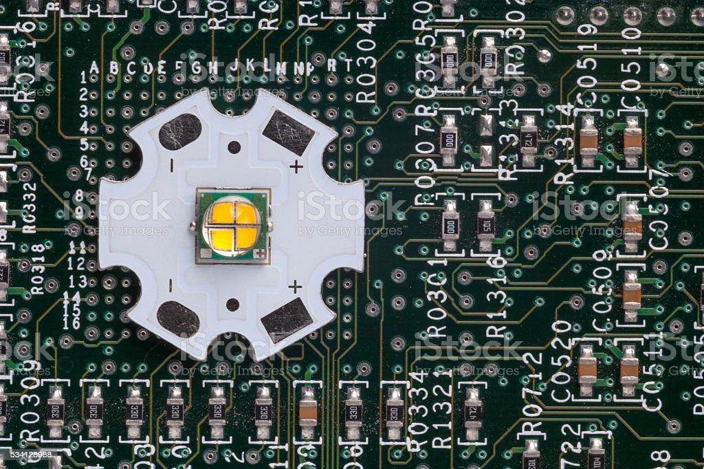 Powerful smd LED on aluminum star circuit stock photo