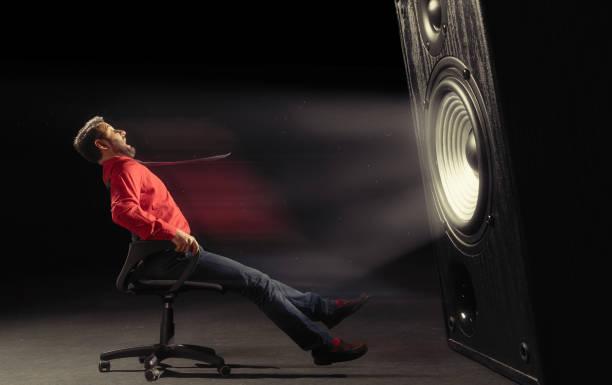 Powerful sound wave. stock photo