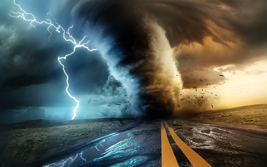 A dramtic and powerful tornado and supercell thunder storm passing through some isolated countryside at sunset. Mixed media landscape weather3d illustration.