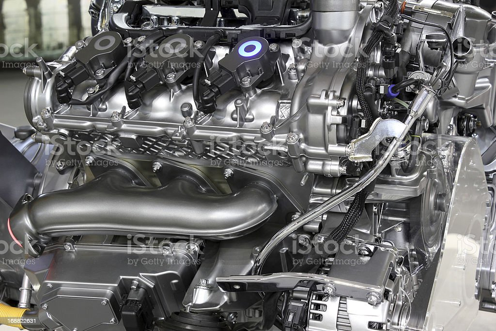 powerful v6 car engine new technology royalty-free stock photo