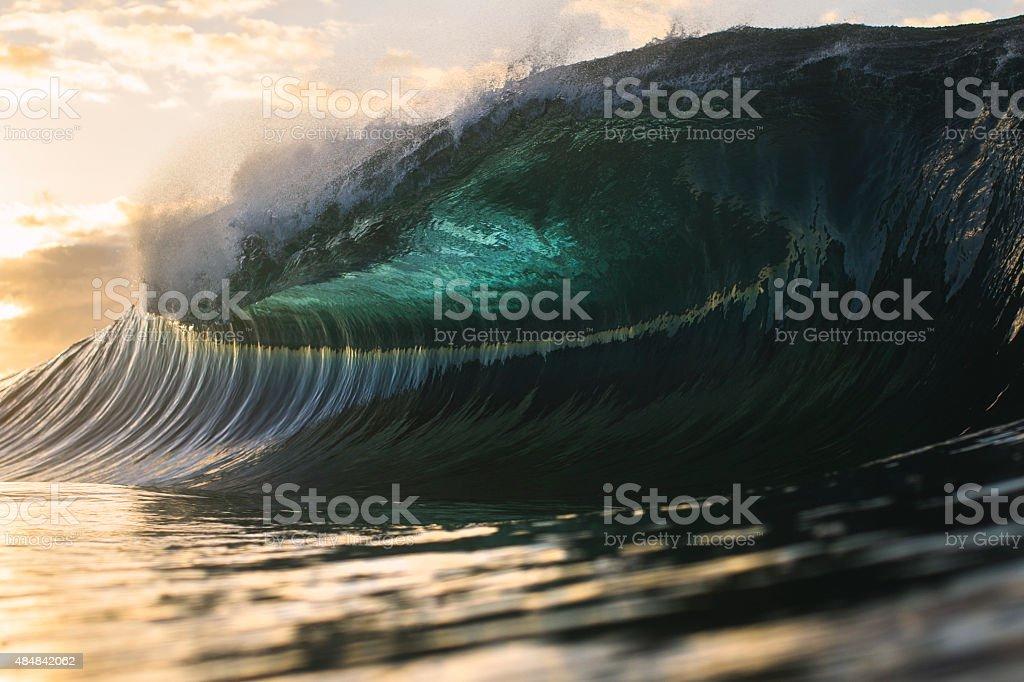 Powerful wave full of energy stock photo
