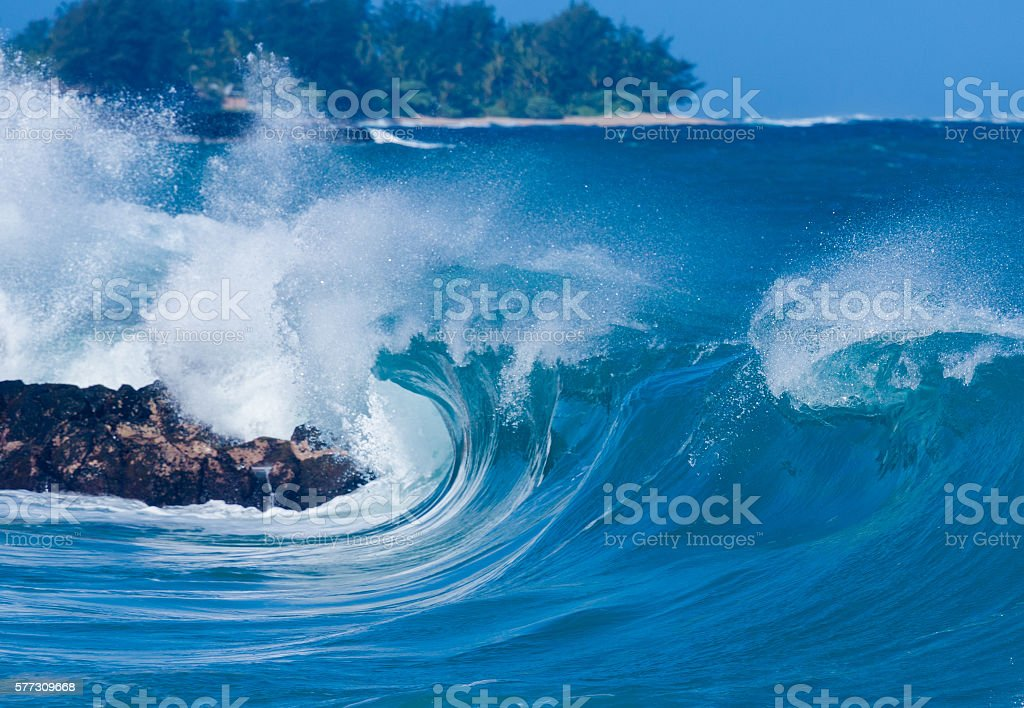 Powerful waves break at Lumahai Beach, Kauai stock photo