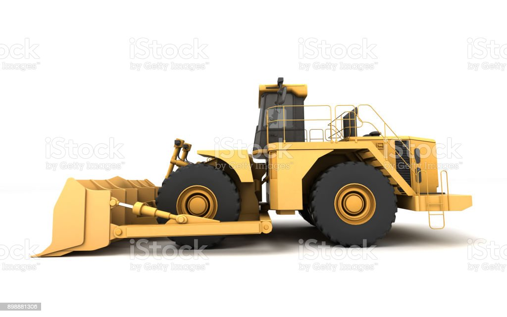Powerfull concept. Massive yellow hydraulic earth mover isolated on white. Right to left direction. 3D illustration. Wide angle. Side view stock photo