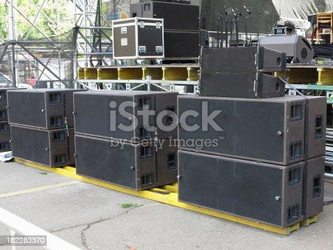 istock Powerfull concerto audio speakers ,amplifiers ,spotlights, stage 182283370