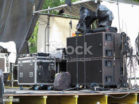 istock Powerfull concerto audio speakers ,amplifiers ,spotlights, stage 453008245