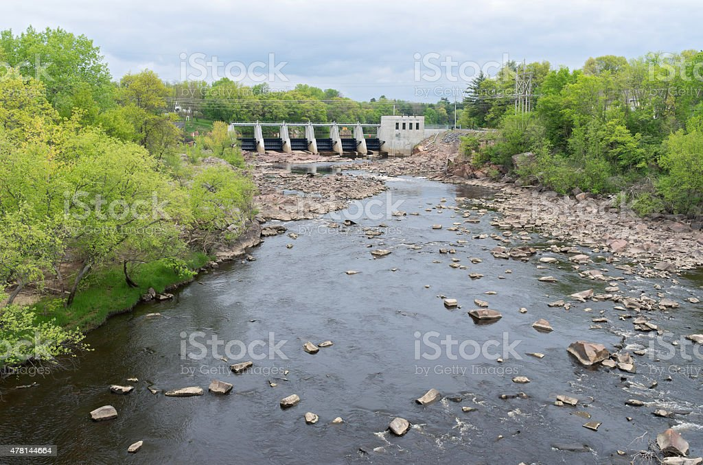 Powerhouse and Dam at Black River Falls stock photo