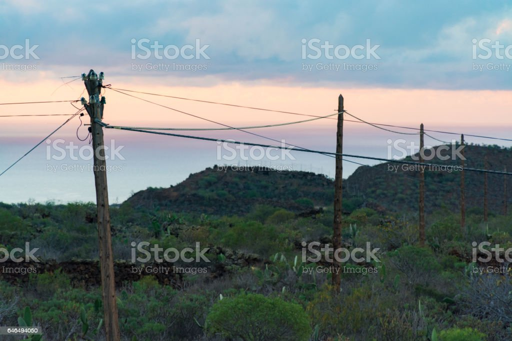 Powerline On Tenerife Life In Small Village In Countryside