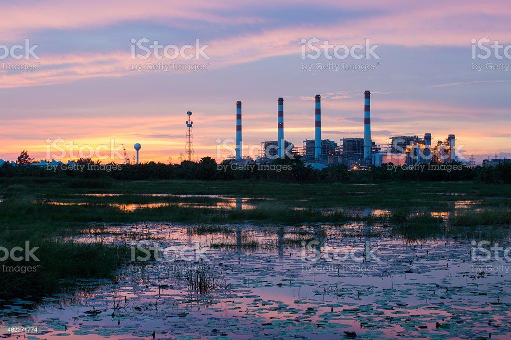 Powerplant during twilight time,Thailand stock photo