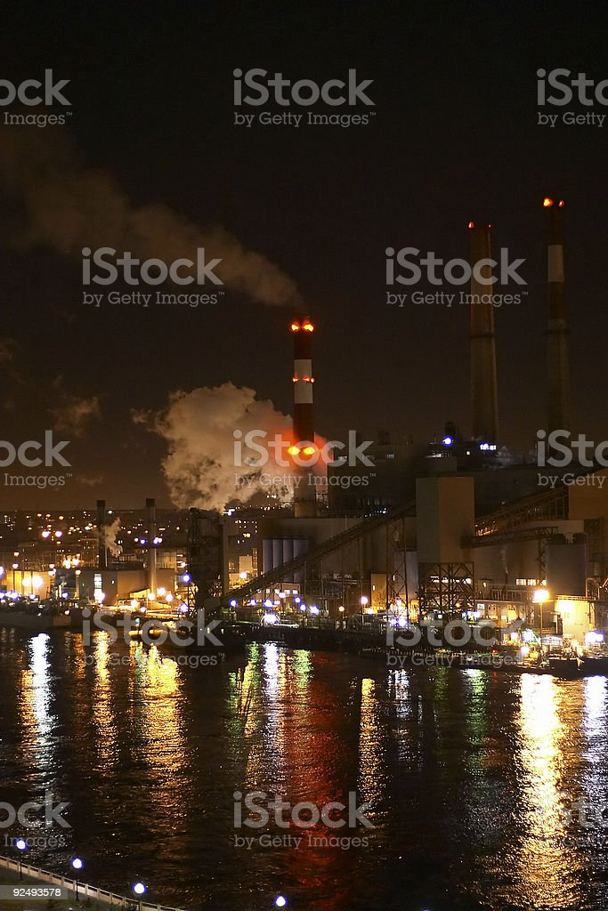 Powerplant or Factory at night royalty-free stock photo