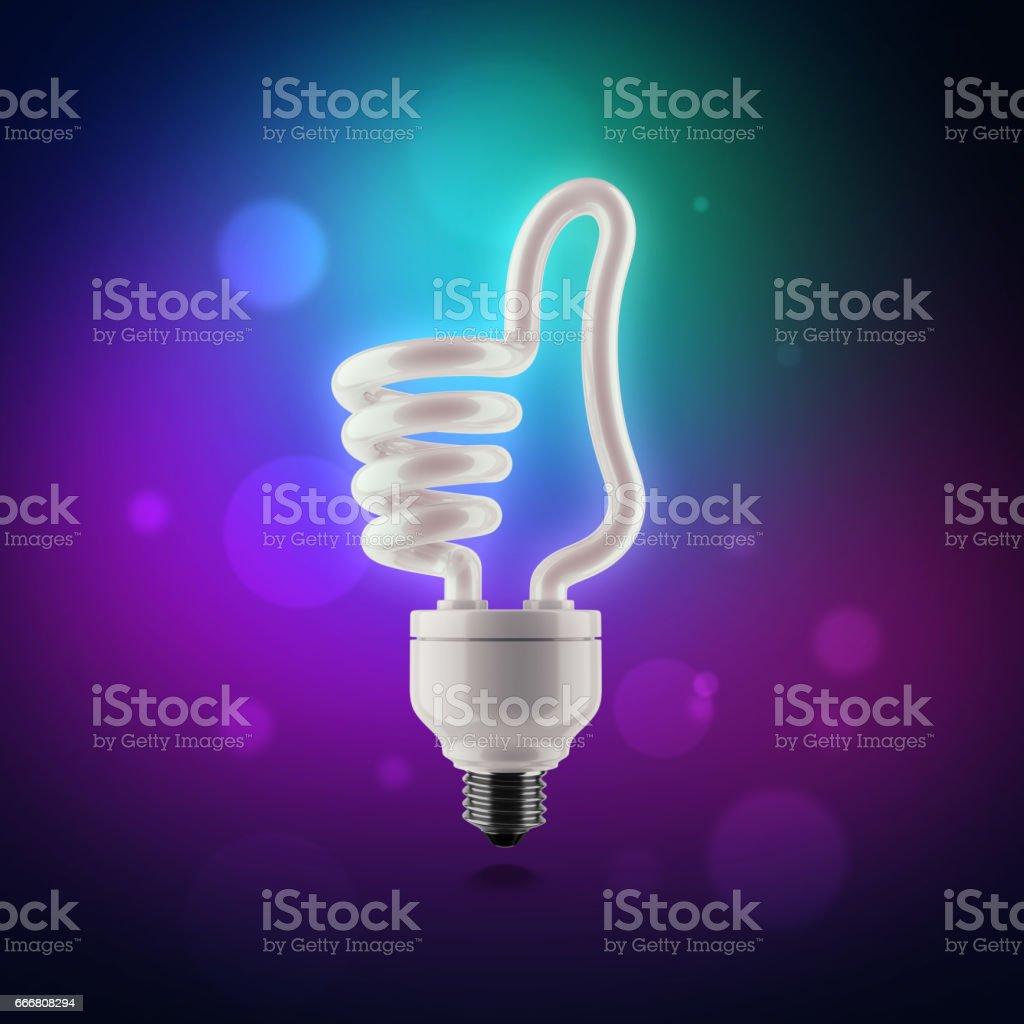 Powersave lamp lamp thumb up. stock photo