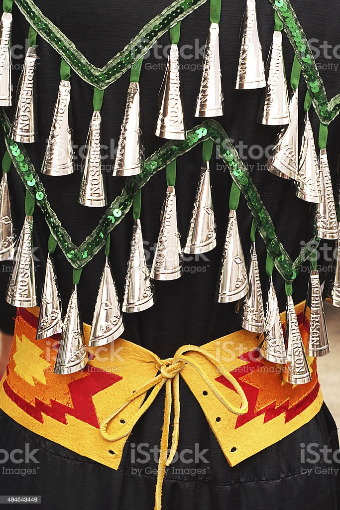 Powwow jingle bell dress stock photo