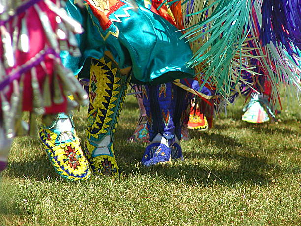 Pow-Wow Women dancing at a Native American Pow-Wow indigenous peoples of the americas stock pictures, royalty-free photos & images