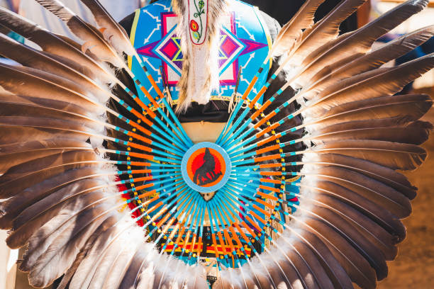 Powwow. The War Shield, Traditional Native American Clothing Decoration, Used to Fend off Arrows and Clubs stock photo