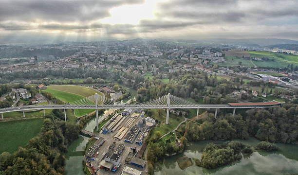 Poya and Zaehringen bridge, Fribourg stock photo