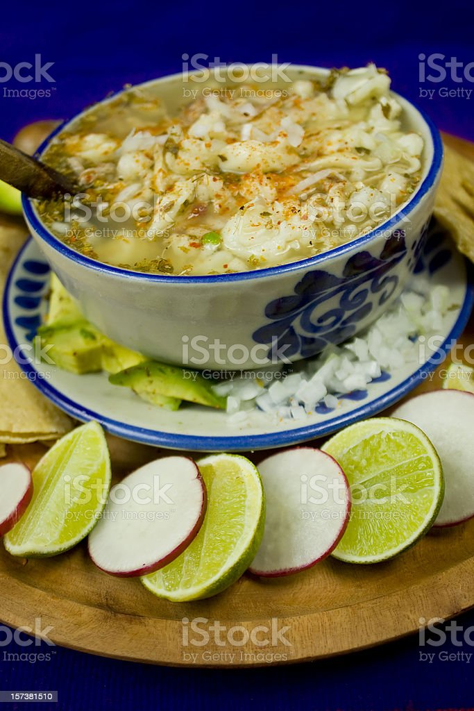 Pozole Mexican Dish Tilted stock photo