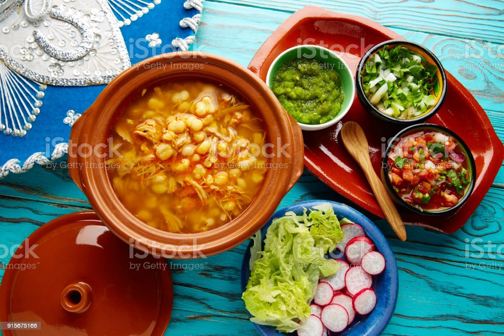 Pozole with mote big corn stew from Mexico stock photo