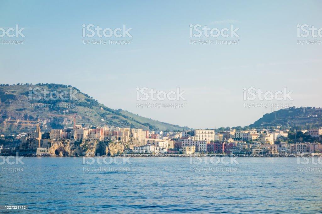 Pozzuoli City Seen from Sea - foto stock