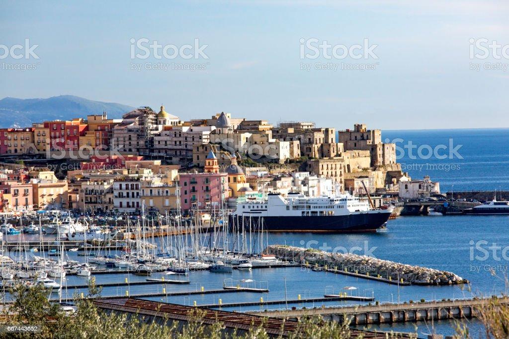 Pozzuoli harbor and old town stock photo