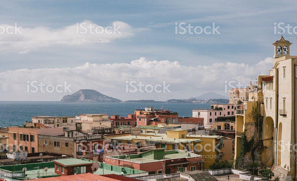 Pozzuoli view of the city and sea, Italy stock photo