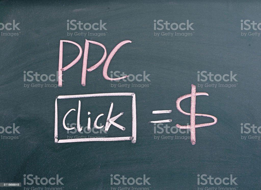 PPC, pay per Klicken Sie auf einer Tafel geschrieben – Foto