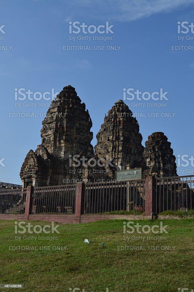 Pra Prang Sam Yot Pagoda in Lopburi Thailand stock photo
