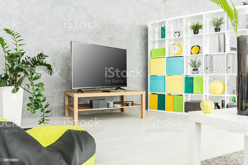 Practical and comfy modern living space stock photo