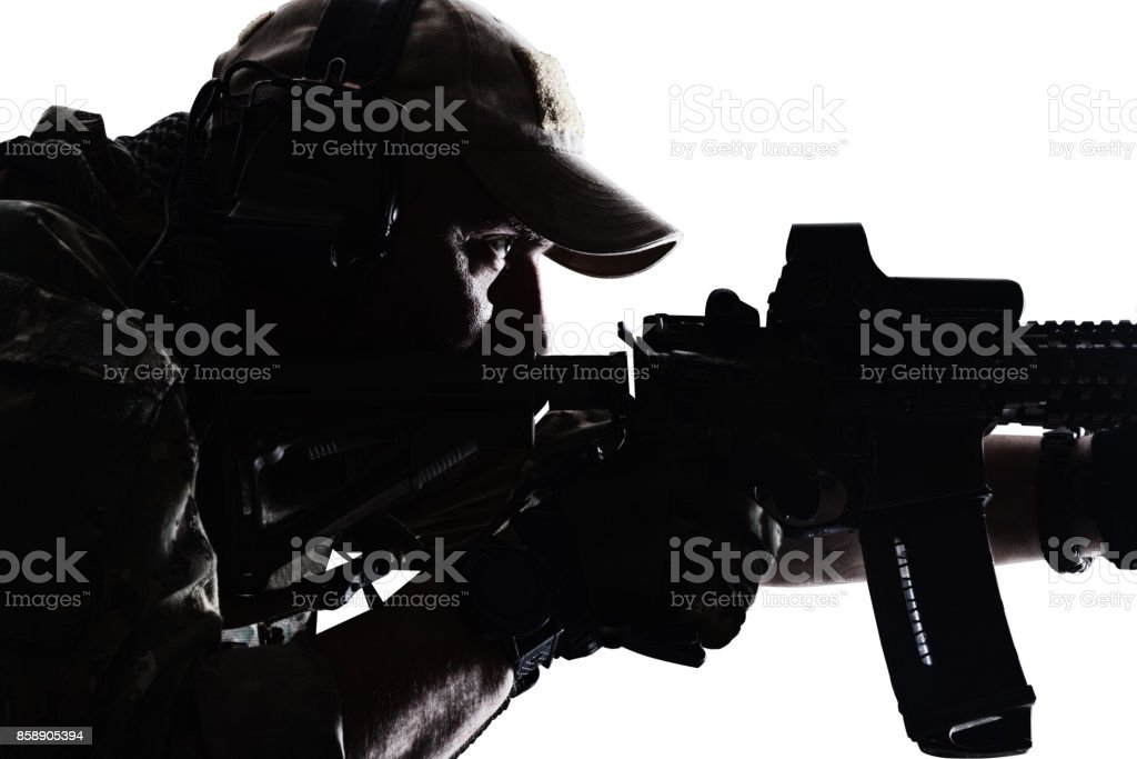 Practical shooting sportsman stock photo