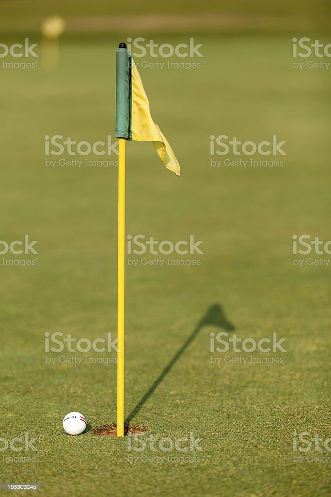Practice Golf Ball and Flag on Putting Green stock photo