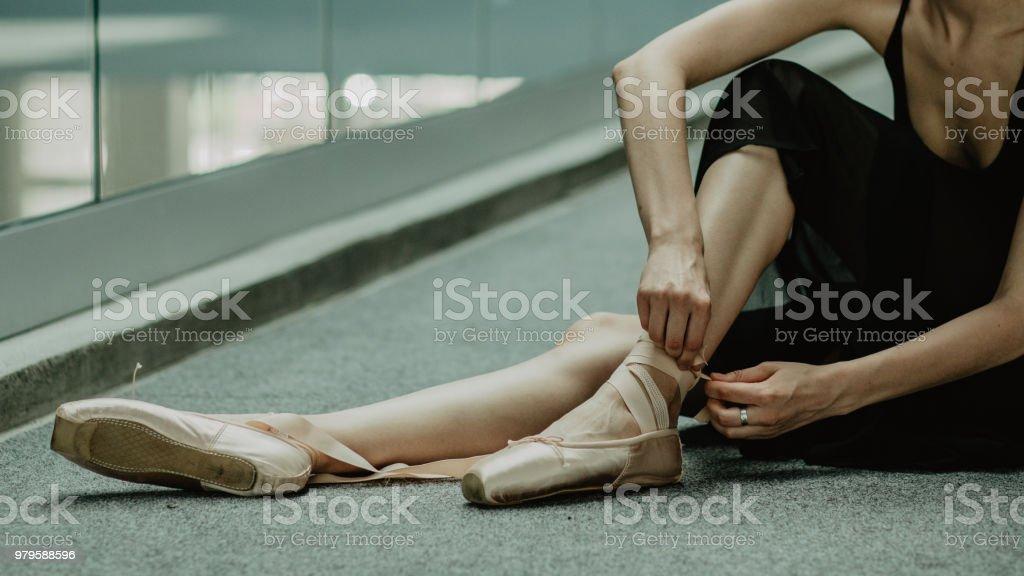 Ballet dancing pointe shoes.