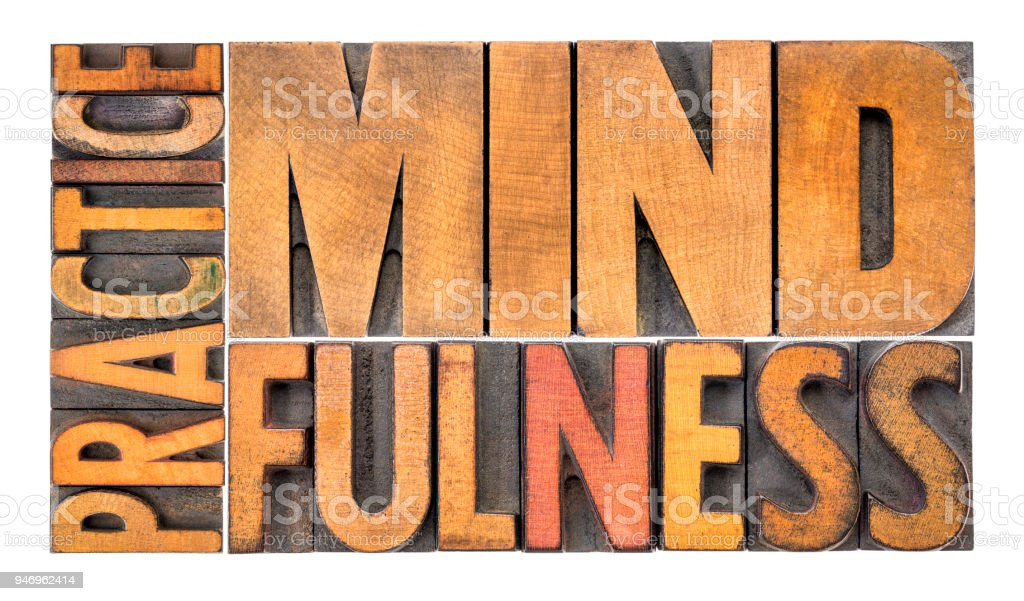 Practice mindfulness word abstract stock photo