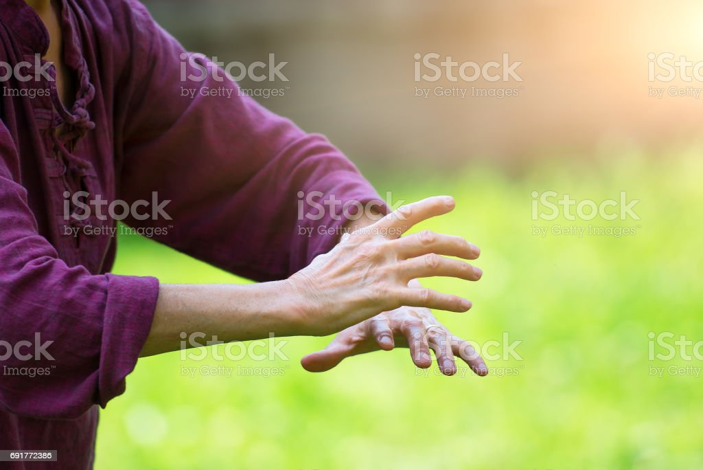 Practice of Tai Chi Chuan in outdoor stock photo