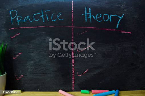 istock Practice or Theory written with color chalk concept on the blackboard 1145380571