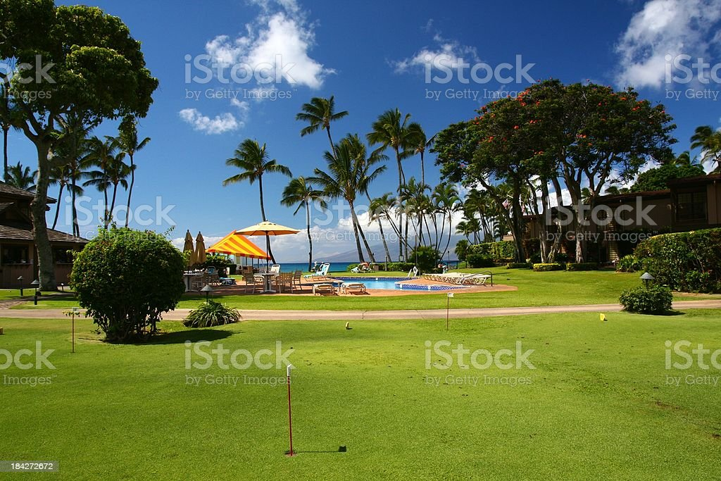 Practice putting golf green in Maui Hawaii resort hotel stock photo