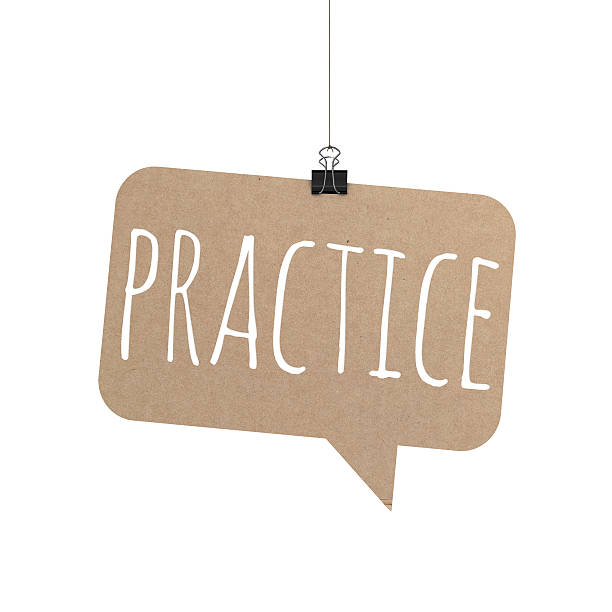 practice speech bubble hanging on a string - practicing stock pictures, royalty-free photos & images