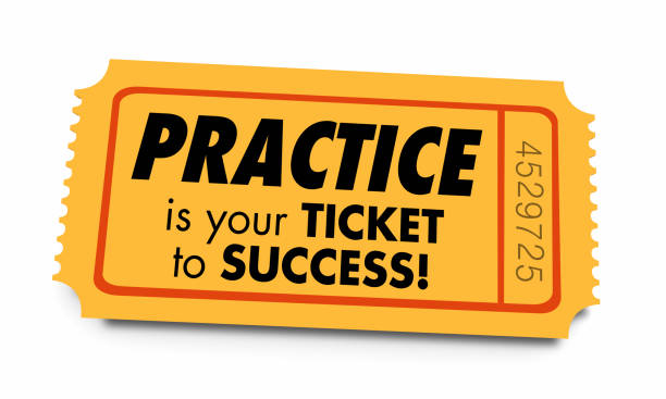 Practice Ticket to Success Prepared Preparation 3d Illustration Practice Ticket to Success Prepared Preparation 3d Illustration practicing stock pictures, royalty-free photos & images
