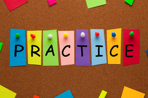 Practice Word Concept Practice word on colorful stickers pinned on cork board. Business concept. practicing stock pictures, royalty-free photos & images