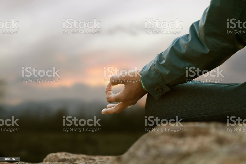 Practices of meditation stock photo