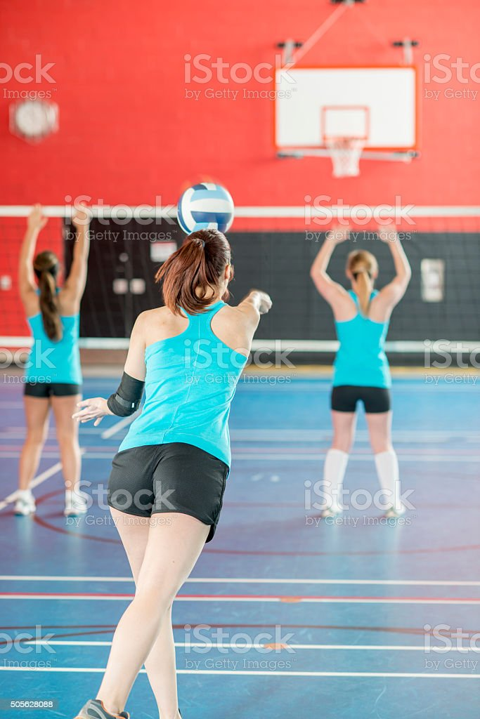 Practicing Bumping a Volleyball stock photo