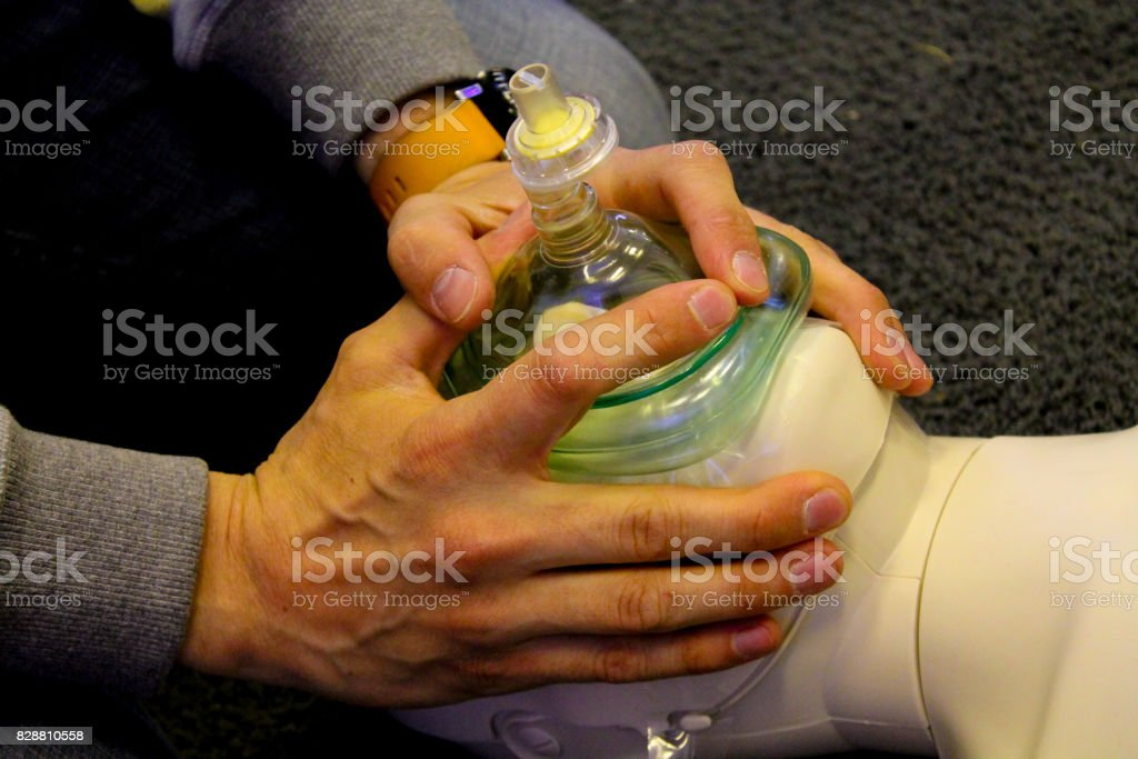 Practicing CPR stock photo