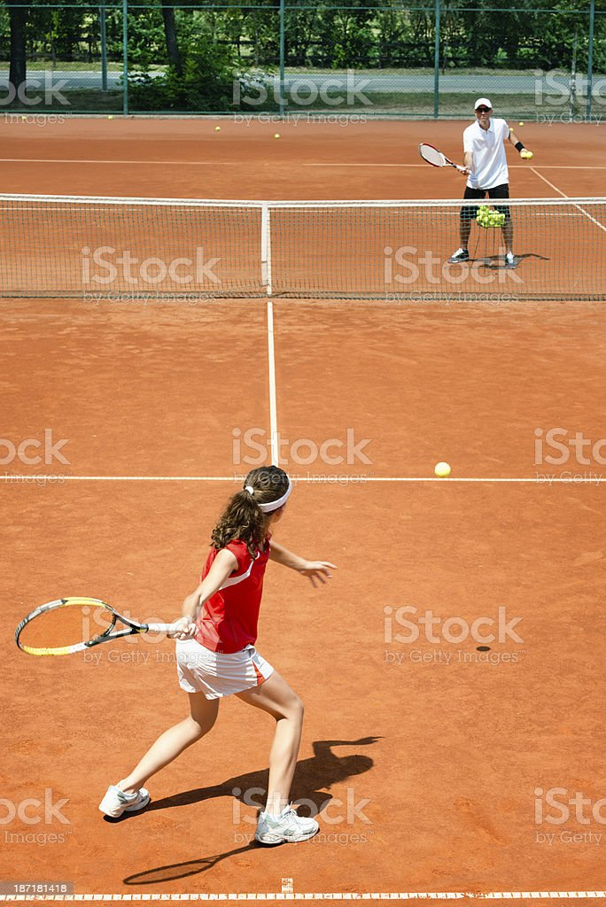 Practicing forehands royalty-free stock photo